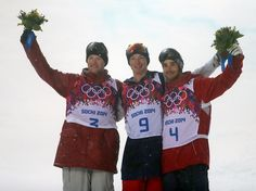 Description of . USA's David Wise, center, celibates his gold medal with silver medalist Canada's Mike Riddle, left, and bronze medalist Fra...