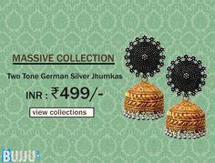 Gold Two Tone German Silver Jhumkas Product code: MIJA90J214 Retail price: 1,275/- Sale price : 499/-