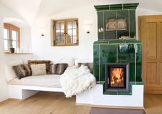 Wood Tile Base furnace, basic furnaces from Brunner Wood Bedroom, Living Room With Fireplace, Lounge Areas, Cozy House, Home And Living, Design Case, Sweet Home, Room Decor, House Design