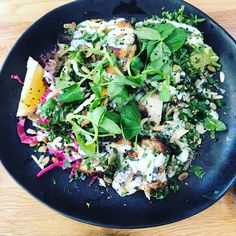 Succulent grilled chicken salad from Morris Cafe Sydney - Its variety that counts with grilled pumpkin and avocado hidden in the jungle