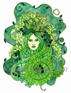 GreenWoman and Blackberries A verdant Mother Earth image surrounded by leafy ferns, vines and blackberries. A lovely companion for GreenMan of Grapevines.