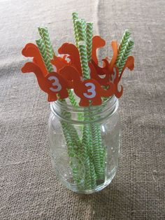 Custom Birthday Dinosaur Straws by SoMuchToCelebrate on Etsy, $10.00