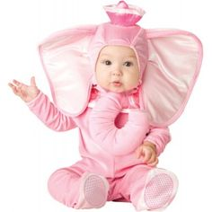Pink Elephant Baby Halloween Costume Price: $30.00  This adorable pink elephant baby costume would be a perfect companion for an adult Hobo!  Pretty pink costume set includes the hood with attached ears and trunk jumpsuit with snaps for easy diaper change and attached skid resistant feet.  This economical costume is part of InCharacter's 2b line of cute costumes perfect for a growing child who will only be able to wear it once.  #cosplay #costumes #halloween