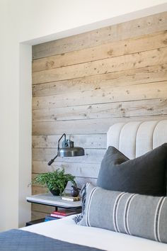accent wall bedroom, accent wall ideasInterior Design Ideas: Designer's Home - Home Bunch Interior Design Ideas. Feature Wall Bedroom, Accent Wall Bedroom, Wood Bedroom Wall, Wall Wood, Wood Feature Walls, Ship Lap Accent Wall, Wood Plank Walls, Wood Planks, Shiplap Wood