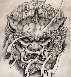 Foo Dog Tattoo Design, Japan Tattoo Design, Yakuza Style Tattoo, Irezumi Tattoos, Japanese Hand Tattoos, Japanese Tattoo Designs, Tattoo Sketches, Tattoo Drawings, Raijin Tattoo