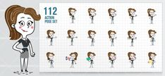Flat Businesswoman Cartoon set made in 112 different poses and moods. It will surely leave a lasting impression on people.