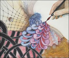 Zentangle Watercolor  Howard Weitzen sent us his most recent combination of Zentangle and watercolor. Original is approximately 24 by 28 inches