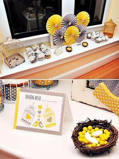 Yellow & Gray Bird Themed Baby Shower // Hostess with the Mostess®