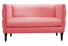 """Gillian 52"""" Tufted Settee, Coral"""