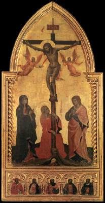 NARDO DI CIONE Crucifixion 1350-60 Tempera on wood, 145 x 71 cm Galleria degli Uffizi, Florence This is one of the most important works produced in Florence around the middle of the fourteenth century. It was probably the central panel of a tabernacle and in the predella contains half length figures of various saints: