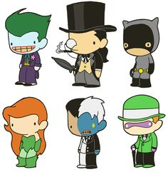 lildoodles:  Lil' Batman: Rogues Gallery booster pack! This pack includes The Joker, The Penguin, Catwoman, Poison Ivy, Two-Face and The Riddler! Like these? Get the stickers! Joker and Penguin Catwoman and Poison Ivy Two-Face and Riddler Collect them all! Related booster packs: Justice League of America  Back to business.