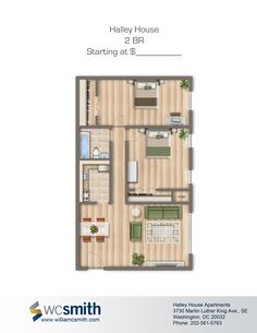 2 Bedroom Floor Plan | Halley House In Southeast Washington DC | WC Smith # Apartments