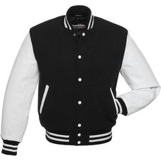 Black Wool and White Leather Letterman Jacket - C101 US (235 CAD) ❤ liked on Polyvore featuring outerwear, jackets, tops, coats, varsity bomber jacket, genuine leather jackets, leather letterman jacket, college jacket and varsity style jacket