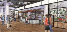 Anticipated forthcoming development Ponce City Market announced the first group of tenants set to occupy its Central Food Hall. Dub's Fish Camp by Bacchanalia chef Anne Quatrano and Linton Hopkins'. Ponce City Market Atlanta, Atlanta Midtown, Atlanta Beltline, Hall Design, Interior Rendering, High Line, Top Restaurants, Fish Camp, Chai