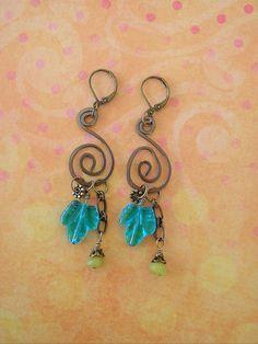 Boho Earrings Bohemian Jewelry Leaf Jewelry by BohoStyleMe on Etsy