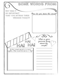 Unique Guest Book Coloring & Questionarre by YourIdeasToPrint Wedding Couples, Wedding Ideas, Party Events, Coloring Books, Bridal Shower, Marriage, Dreams, Words, Unique
