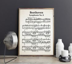 Beethoven Symphony No 8 Sheet Music Beethoven Music Gift Beethoven Decor Beethoven Wall Art Beethoven Composer Sheet Classical Music Poster by WallBuddy on Etsy Vintage Images, Vintage Posters, Beethoven Music, Color Depth, French Words, Music Gifts, Unique Wall Art, Free Prints, Classical Music