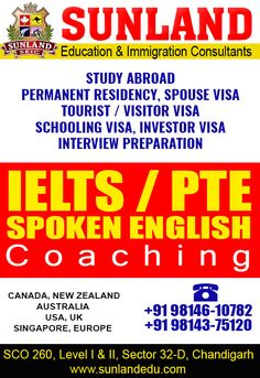 #Sunland #Education and #Immigration #Consultants deals in #Study #Abroad, #Permanent #Residency, #Spouse Visa, #Tourist/ #Visitor Visa, #Schooling Visa, #Investor Visa for #Canada, #New #Zealand, #Australia, #USA, #UK, #Singapore and #Europe.  We also Provide #Best #Coaching in #IELTS/ #PTE/ #Spoken #English Meet here our #Professional #Trainers at following address:- SCO - 260, Sector 32-D, #Chandigarh http://sunlandedu.com/ +91-98146 10782 +91-98143 75120 +91-98551 58431