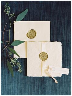 Invitation suite with gold wax seal by Erika Jack for Enchanted Atelier by Liv Hart. Image by Laura Gordon.