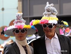 """Love the bunnies. """"Two men participate in the annual Easter parade on the Fifth Avenue in New York, the United States, April 24, 2011"""""""