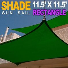 NEW 11.5'x11.5'x11.5' SQUARE RECTANGLE OUTDOOR SUN SAIL SHADE CANOPY COVER - GREEN by MTN Gearsmith. $43.95. Constructed of mesh nylon fabric. Heavy duty design won't sag. Includes tension mounted rings which are double stitched into the corners.. Dimensions: 11.5'X11.5' (Rectangle). Made from UV stabilized extra heavy fabric. This auction is for a brand new 11.5' x11.5' Square shape Sun sail shade.   These attractive tensioned fabric shade sails can be installed over e...