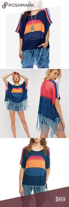 "Free People Sunset Fringe Sweater XS Free People Sunset Fringe Sweater Blue Horizon XS.  Oversized fit. Netted back. Scoop neck. Fringe Hem. Slip-On. 12"" Fringe. Cotton Blend. Hand wash.  Retail: $168 Free People Sweaters"