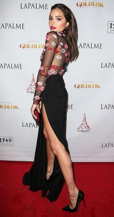 Better From the Back? Stars' Most Jaw-Dropping Rear Views - Olivia Culpo in a beaded lip-print Zuhair Murad dress