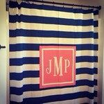 Personalized Shower Curtain / Monogrammed Shower Curtain on Etsy, $75.00. Excellent house warming or wedding gift. www.SasssySouthernGals.etsy.com