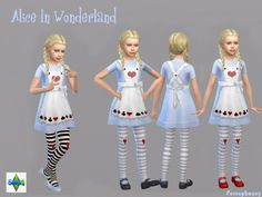 A costume for female children in the style of Alice in Wonderland!  Found in TSR Category 'Sims 4 Female Clothing Sets'