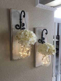 Set Of Mason Jar Wall Sconces, Mason Jar Sconce, Mason Jar Decor, Mason