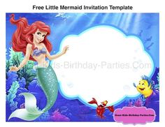 Updated free printable ariel the little mermaid invitation template free little mermaid invitation template filmwisefo Images