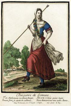 """1678-1693 French Fashion plate """"Recueil des modes de la cour de France, 'Bergerre de Gonesse'"""" at the Los Angeles County Museum of Art, Los Angeles"""
