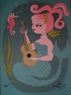 El Gato Gomez Painting Retro 1950s Kitschy Mermaid Seahorse Guitar Pinup Girl   eBay