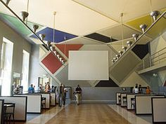 Grande Salle or Ciné-bal in Strasbourg - designed by Theo van Doesburg, Hans Arp and Sophie Taeuber-Arp, and executed destroyed by 1938 and restored Piet Mondrian, Strasbourg, Leiden, Bauhaus, Theo Van Doesburg, Hans Arp, Architecture Design, Neo Dada, Design Movements