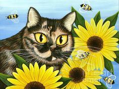 Items similar to Tortiseshell Cat Painting Sunflower Cat Art Tortie Cat Bees Portrait Pet Portrait Colorful Cat Art Print Cat Lovers Art on Etsy Cat Lover Gifts, Cat Gifts, Carrie, Cat Keychain, Cat Art Print, Cat Colors, Cat Drawing, Studio, Pet Portraits