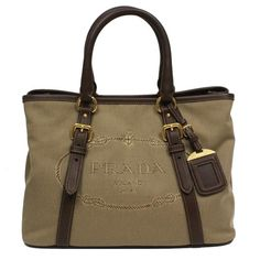 Prada Logo Jacquard Canvas Leather Satchel Bowling Bag with Shoulder Strap 1BA832 - Prada logo jacquard borsa mano top-handle satchel bowling bag with removable leather shoulder strap with 21 inch strap drop - model number 1BA832, dark beige canvas material with brown leather trim - double rolled leather handles, gold hardware, Prada triangle logo trademark - interior zip pocket, snap closure, removable luggage tag, measures 12 length x 9 height x 6 width inches - includes authenticity cards…