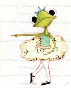 Print of my original folk art painting Ballerina Frog от DUDADAZE Frog Illustration, Paper Mache Animals, Frog Pictures, Funny Frogs, Frog Art, Frog And Toad, Dance Art, Whimsical Art, Illustrations