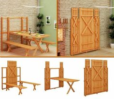 fold-up picnic table and bench