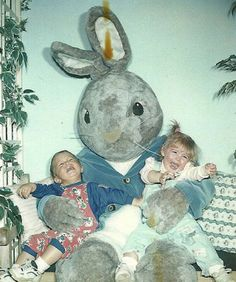 Um, you would be scared too if you were being held by a bunny with legs that looked like mushrooms.