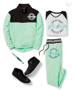 Made-to-match activewear and accessories that look cool on and off the field (or ice)! Teenage Girl Outfits, Cute Girl Outfits, Sporty Outfits, Athletic Outfits, Dance Outfits, Outfits For Teens, Cool Outfits, Warm Outfits, Justice Shoes