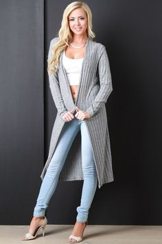 Wide Ribbed Long Line Cardigan
