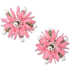 Moschino Earrings ($140) ❤ liked on Polyvore featuring jewelry, earrings, pink, pink plastic earrings, moschino, pink jewelry, plastic jewelry and pink earrings