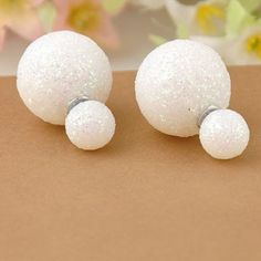 Irregular Double Sphere Glitter Earrings Posts Studs Ball Pearl, Peek A Boo Earrings , 360 Earrings