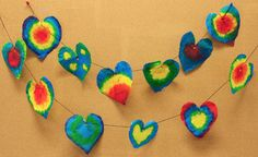 Tie Dye Heart Garland made from coffee filters