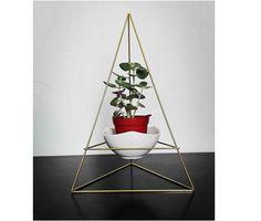 geometric hanger planter with a little white ceramic flower pot | small desk garden | himmeli | gold hanging terrarium geometric mobile