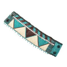 Vacation Jewelry: Late For Dinner Turquoise, Beige, Bronze Wide Flat Bracelet