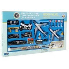 Create imaginative play setting with this Air Force One play set II die-cast planes, playmat and assorted vehicles. Die cast and plastic pieces. Incudes 20 pieces. Includes planes, limo, vehicles, motorcycle, helicopter, signs and play mat.
