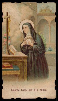 Holy card depicting Saint Rita, patron saint of hopeless cases