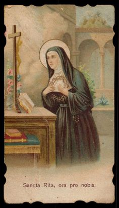 Holy card depicting Saint Rita, patron saint of hopeless cases