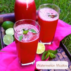 Watermelon Mojitos | Teaspoonofspice.com  Watermelon juice, lime, mint and white rum is all you need for an easy summer cocktail